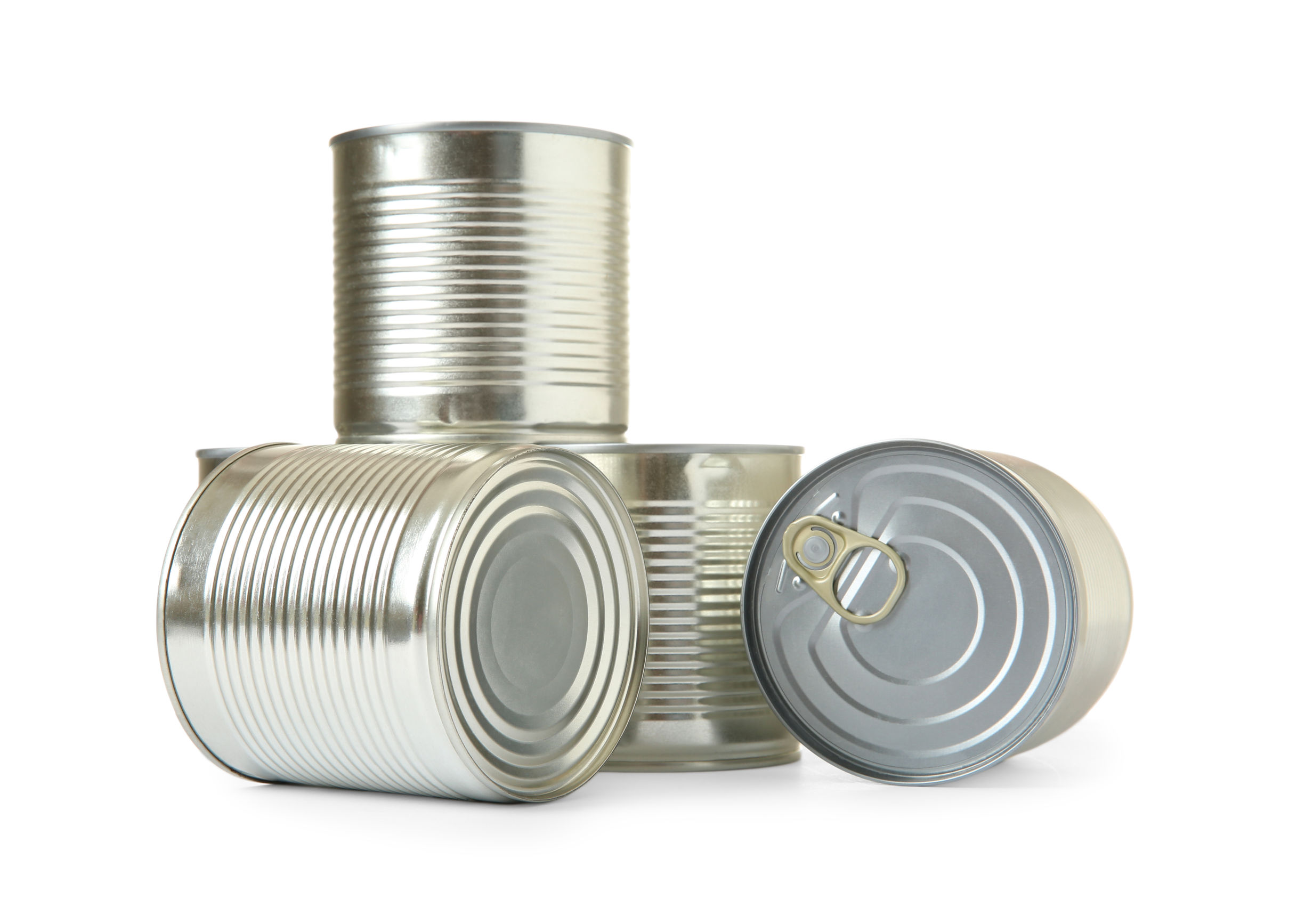 Closed tin cans isolated on white, mockup for design